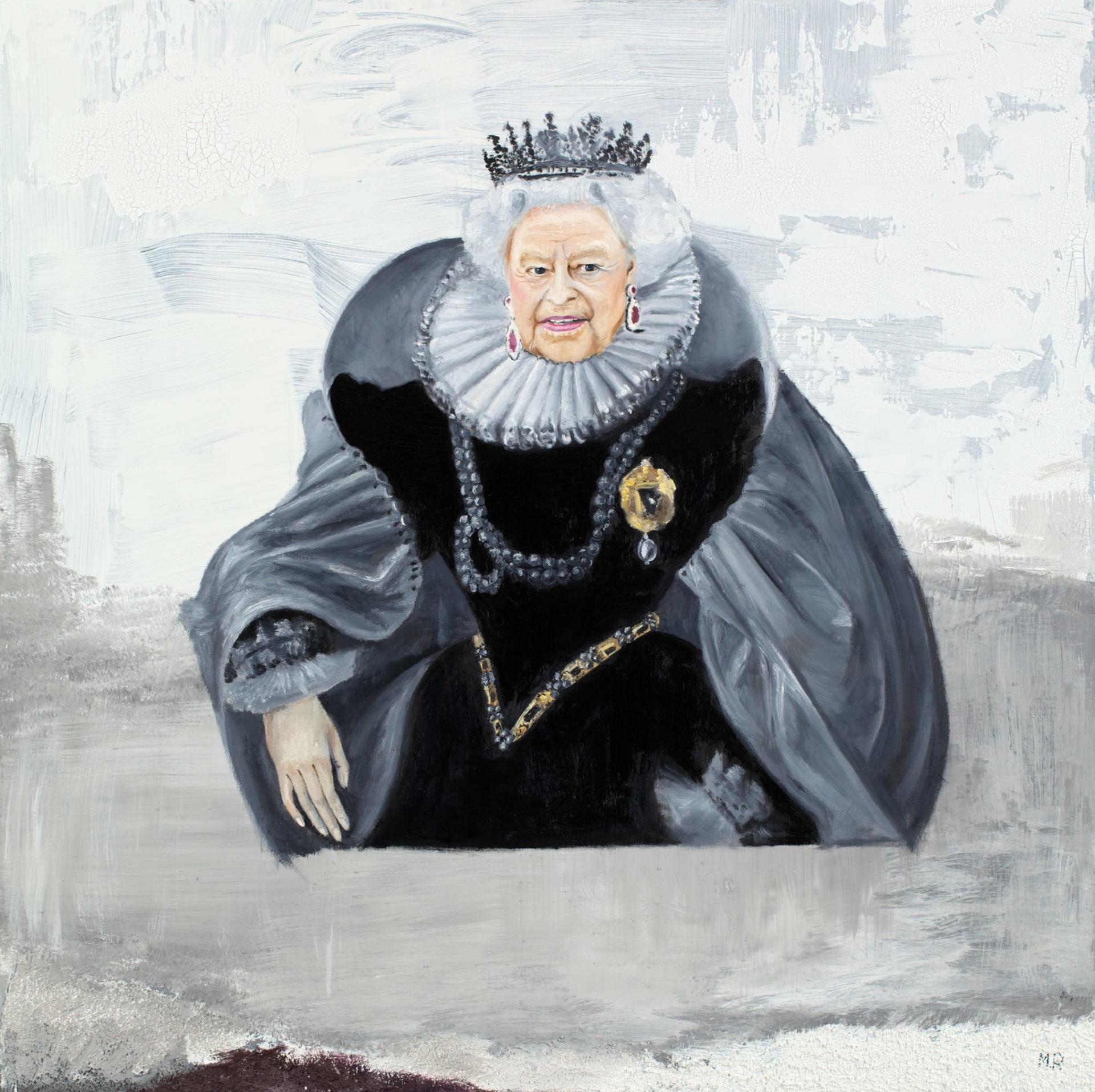 Maria Petroff oil art work Queen Elizabeth 100 x 100 cm, Mixed media on canvas