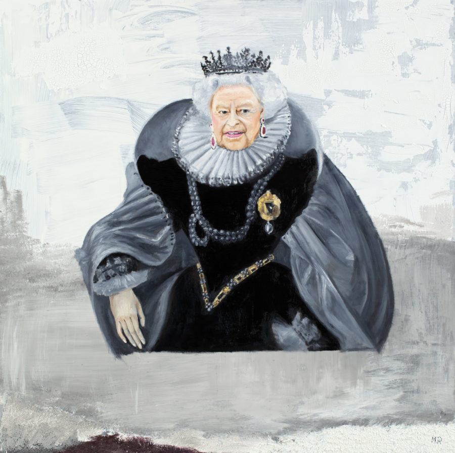 Maria Petroff oil art work Queen Elizabeth 100 x 100 cm, Mixed media on canvas