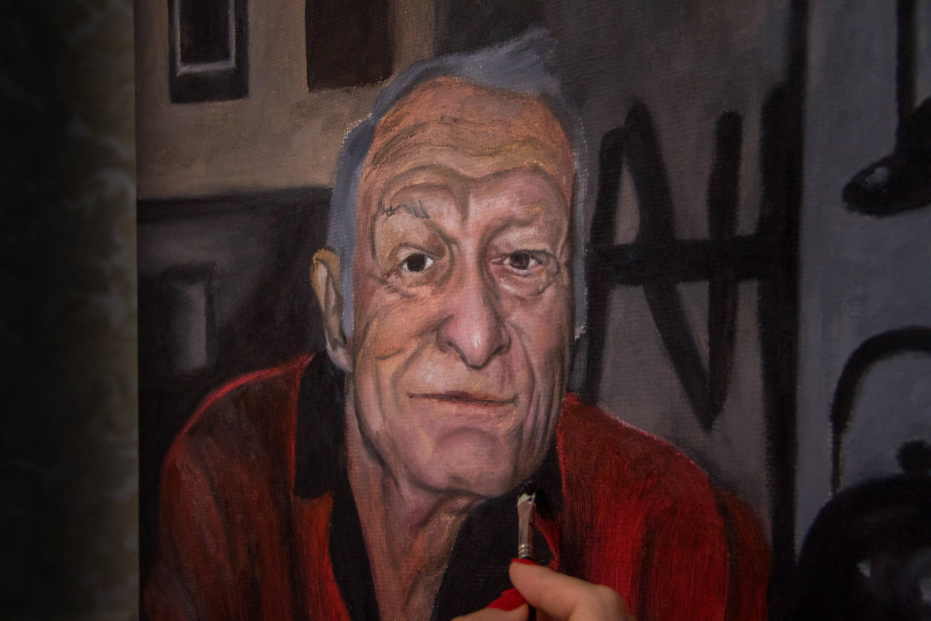 Oil portrait on canvas in progress — Hugh Hefner