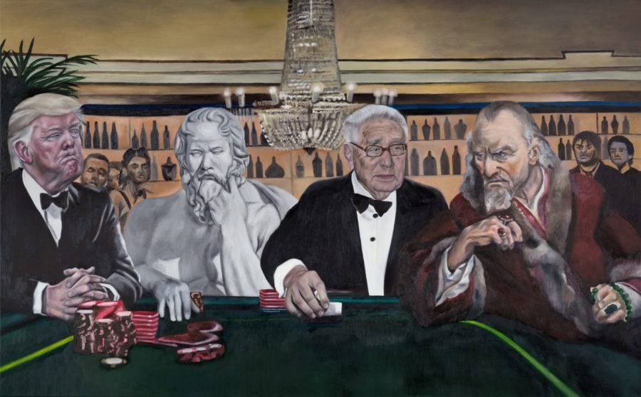 Poker — original oil art by Maria Petroff