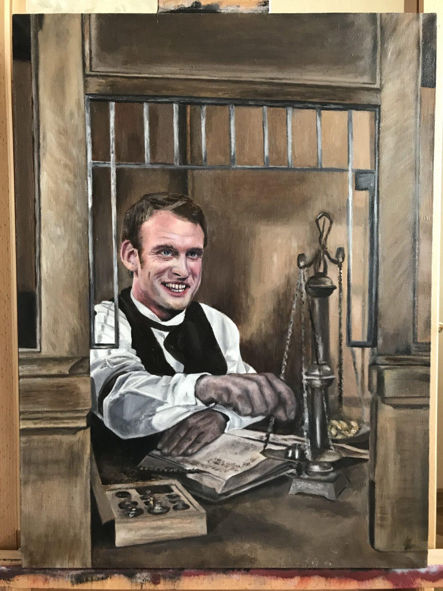 "Emmanuel Macron portrait – ""Teller."""